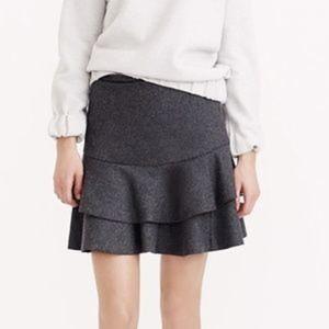 J.CREW Tiered Ruffle Flounce Skirt In Bonded Wool